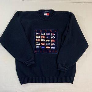 Vintage Tommy Hilfiger Flag Logo Knit Sweater L